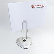 Paper Clip Form Menu Holder Heart Base Gorham Sterling Silver 1950
