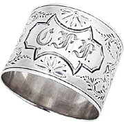 Vintage Engraved Napkin Ring Monogram Coin Silver 1890