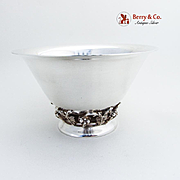 Vintage Round Footed Bowl Grapevine Motif Sterling Silver 1930