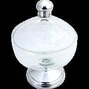 Vintage Lidded Glass Jar Footed Duchin Creation Sterling Silver