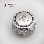 Small Round Cut Glass Dresser Jar Beaded Lid Sterling Silver Gorham
