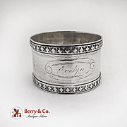 Vintage Engraved Napkin Ring Applied Rims Coin Silver 1870