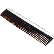 Art Deco Comb Faux Tortoise Sterling Silver International 1940