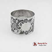 Floral Engraved Napkin Ring No Mono International Sterling Silver 1910