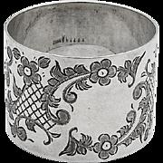 Floral Engraved Napkin Ring No Mono International Sterling Silver 1910