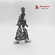Filigree Peruvian Native Woman Figurine Sterling Silver 1960