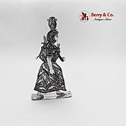 Filigree Peruvian Native Woman Figurine Sterling Silver 1960