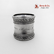Aesthetic Beaded Engraved Napkin Ring Gorham Sterling Silver 1890