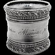 Aesthetic Beaded Engraved Napkin Ring Gorham Sterling Silver 1890