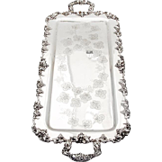 Large Rectangular Footed Tray Hand Chased Grape Pattern E G Webster Silverplate 1900