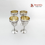 Repousse Grape Water Goblets Applied Rims Gilt Interior E G Webster Silverplate 1900