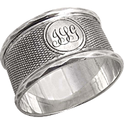 English Engine Turned Napkin Ring Faceted Rims Sterling Silver 1897