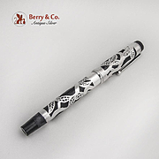 Parker Ball Point Pen Screw On Cap Foliate Pattern Pure Silver Overlay
