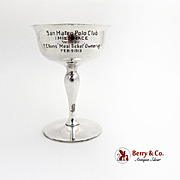 San Mateo Polo Club Trophy Cup Gilt Interior Shreve Treat Eacret Sterling Silver