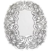 Floral Engraved Cut Work Trivet Wallace Silverplate 1970