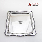 Square Gadroon Tray US Navy Captains Mess Insignia International Silverplate