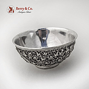 Vintage Ornate Floral Bowl Chinese Sterling Silver