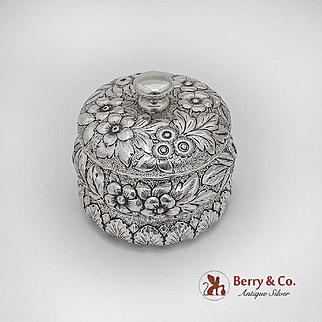 Repousse Floral Dresser Jar American Sterling Silver 1900