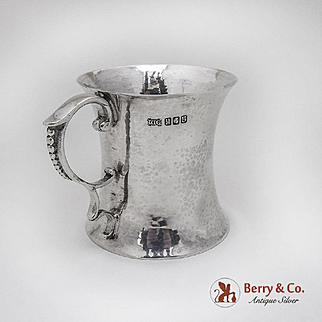 Irish Hammered Cup Mug William Egan And Sons Sterling Silver Dublin Cork 1969