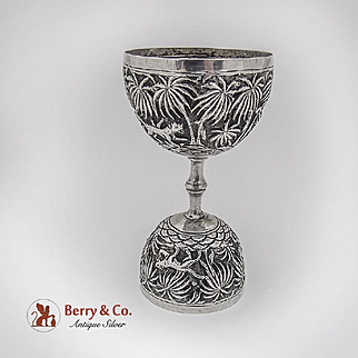 Indian Raj Repousse Double Jigger Gilt Interior Sterling Silver 1900