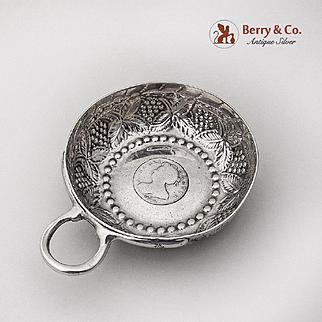 Antique Grape Repousse Taste Vin Wine Tasting Cup Sterling Silver 1790 - 1810