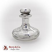 Art Nouveau Perfume Bottle Silver Overlay Glass 1910
