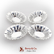 Fluted Oval Nut Relish Dishes Set Canadian Sterling Silver 1950