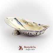 Oyster Shell Form Salt Olive Dish Gorham Recast Sterling Silver 1945