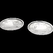 Engraved Flower Basket Ribbon Pedestal Dishes Pair International Sterling Silver 1910