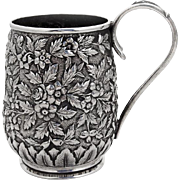 Repousse Floral Childs Cup S Kirk And Son Coin Silver 1875