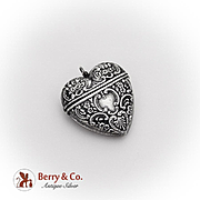 Ornate Heart Box Pendant Sterling Silver 1930