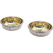 Cartier Small Serving Bowls Pair Heavy Fluted Bodies Sterling Silver 1940