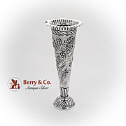 Large Floral Scroll Bud Vase William Comyns Sterling Silver London 1894