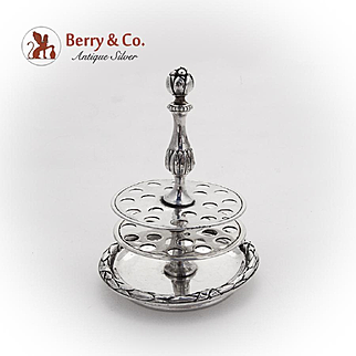 Victorian Stick Pin Holder Pomegranate Finial French 950 Silver 1890
