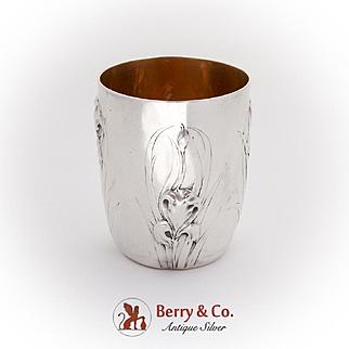 Art Nouveau Floral Beaker Cup Gilt Interior French 950 Silver 1902