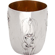 Art Nouveau Floral Beaker Cup Gilt Interior French 950 Silver 1902