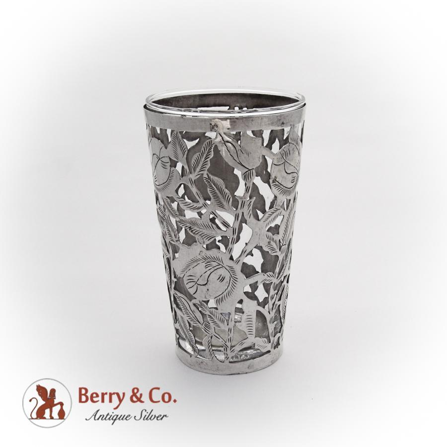 Mexican Drinking Glass Openwork Floral Frame Sterling Silver 1945 : Berry U0026  Company Antique Silver | Ruby Lane