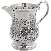 English Repousse Floral Creamer Sterling Silver London 1891
