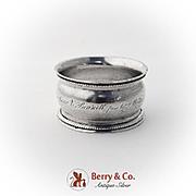 Antique Coin Silver Napkin Ring 1855