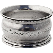Antique Coin Silver Napkin Ring 1855