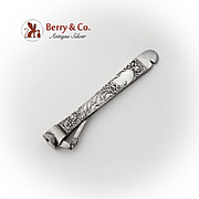 Floral Ornate Cigar Cutter Tool Sterling Silver Stainless Steel