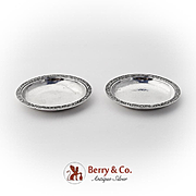 Japanese Hammered Nut Cups Pair Ornate Edges Sterling Silver