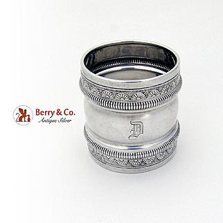 Aesthetic Napkin Ring Ornate Rims Gorham Sterling Silver Date Mark 1882