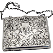Acid Etched Griffons Ladies Purse Vanity Case Clarence A Vanderbilt Sterling Silver