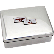 Japanese Tidewater Oil Co Presentation Box Wood Lined Enamel 950 Sterling Silver