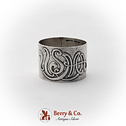 USMA West Point Napkin Ring Applied Monogram Sterling Silver