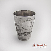 Engraved Dragon Shot Cup Chinese Export Silver 1910