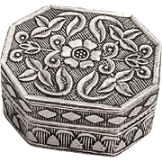 Vintage Floral Pill Box Octagonal Form Sterling Silver 1955