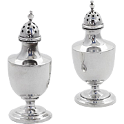 Colonial Revival Salt Pepper Shakers Beaded Edge Sterling Silver 1915