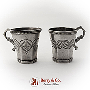 Spanish Colonial Silver Cups Pair Floral Figural Handles 1825